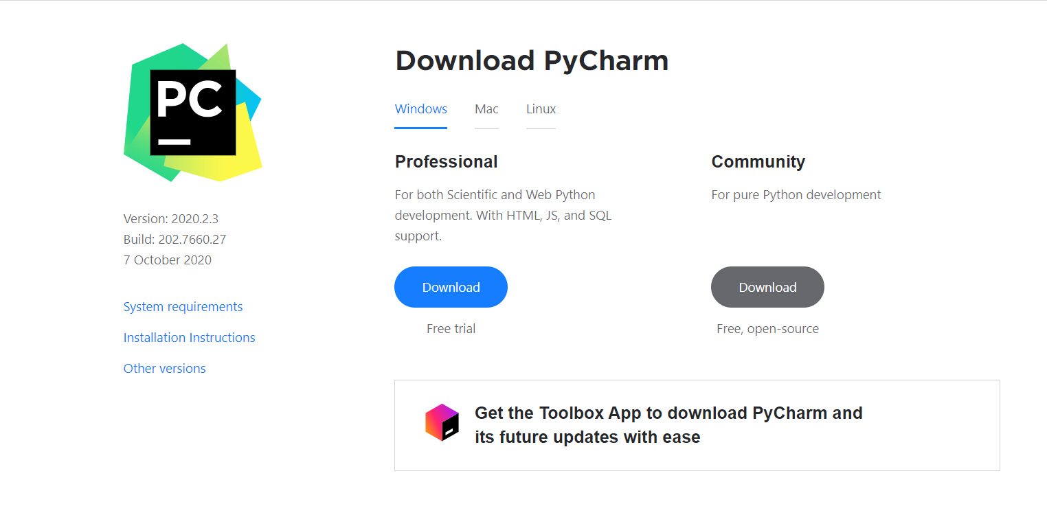 pycharm download page