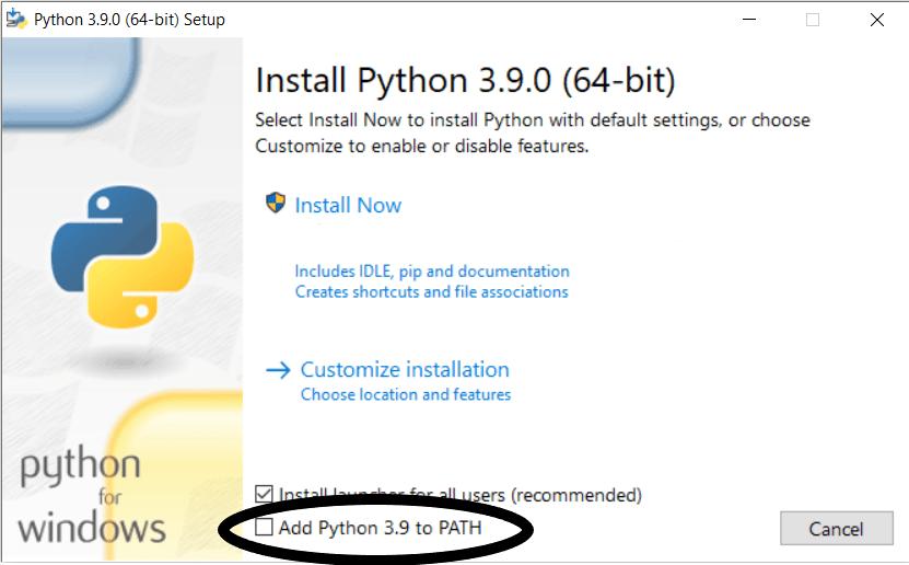 python installer window